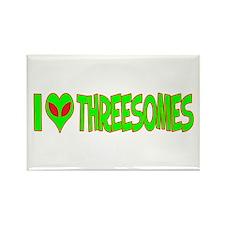 I Love-Alien Threesomes Rectangle Magnet