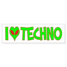I Love-Alien Techno Bumper Bumper Sticker