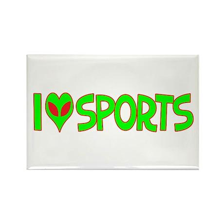 I Love-Alien Sports Rectangle Magnet (100 pack)