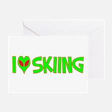I Love-Alien Skiing Greeting Card