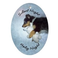 Tri-Color Sleeping Sheltie Oval Ornament