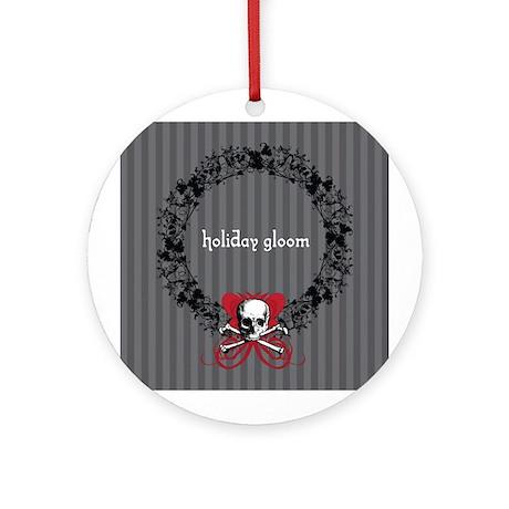 Holiday Gloom Skull Wreath Ornament (Round)