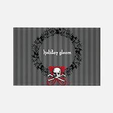Holiday Gloom Skull Wreath Rectangle Magnet