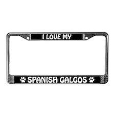 I Love My Spanish Galgos License Plate Frame