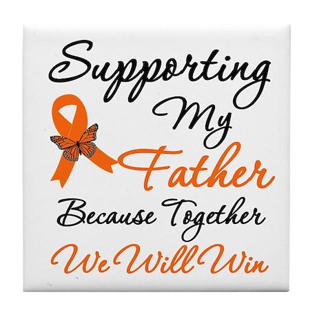 Orange Ribbon Butterfly Tile Coaster