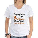 Cancer research support Womens V-Neck T-shirts