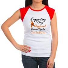 Orange Ribbon Butterfly Women's Cap Sleeve T-Shirt