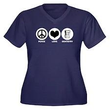 Peace Love Dentistry Women's Plus Size V-Neck Dark