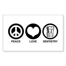 Peace Love Dentistry Rectangle Decal