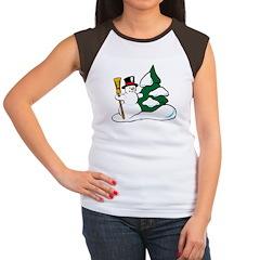 Christmas Snowman Women's Cap Sleeve T-Shirt