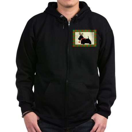 Scottie Dog Christmas Zip Hoodie (dark)