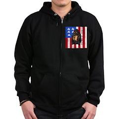 Patriotic Black & Tan Zip Hoodie (dark)