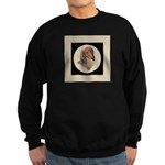 Longhaired Dachshund head stu Sweatshirt (dark)