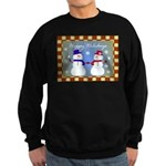 Snowman Couple Greeting Sweatshirt (dark)