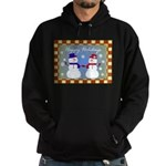 Snowman Couple Greeting Hoodie (dark)