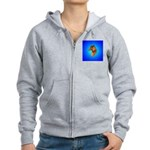 Long Coated Dachshund Profile Women's Zip Hoodie