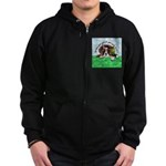 Bassett Hound Party guy!! Zip Hoodie (dark)