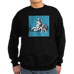 Siberian Husky and Puppy Sweatshirt (dark)
