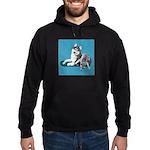 Siberian Husky and Puppy Hoodie (dark)