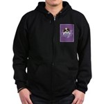 St. Bernard Puppy with flower Zip Hoodie (dark)