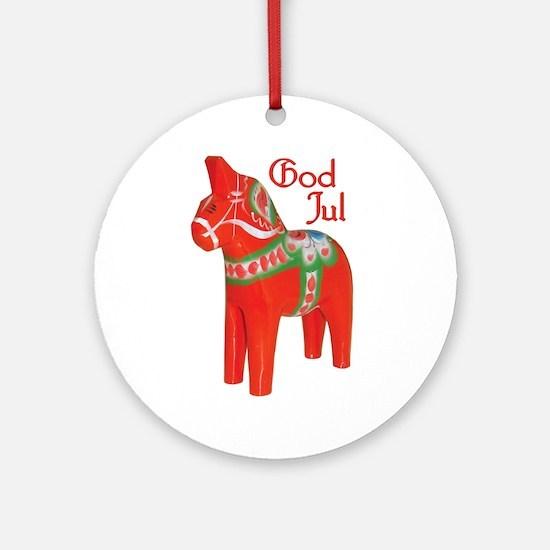 God Jul Dala Ornament (Round)