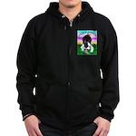 Bowing Boston Terrier Zip Hoodie (dark)