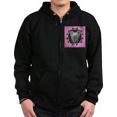 New Chinese Crested Design Zip Hoodie (dark)