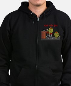 Olive This Bar Zip Hoodie (dark)