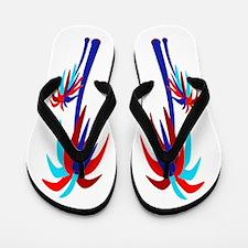 Palm Trees - Blue & Red Flip Flops