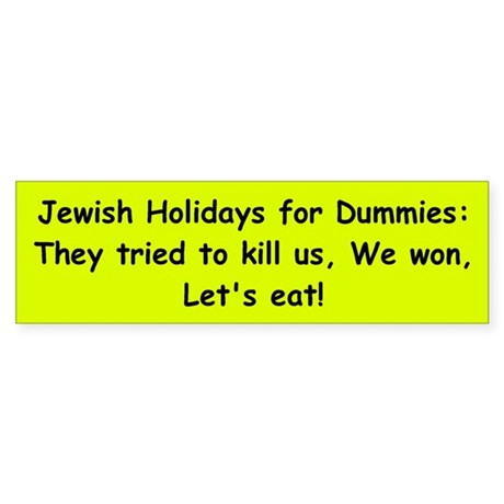 Jewish Holidays for Dummies Bumper Sticker