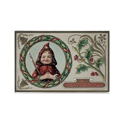 1909 Girl in Red Hood Rectangle Magnet