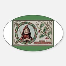 1909 Girl in Red Hood Oval Decal