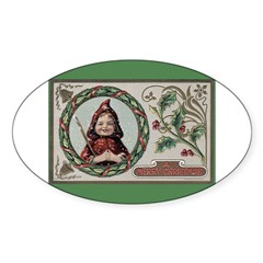 1909 Girl in Red Hood Oval Sticker (50 pk)
