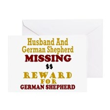 Husband & German Shepherd Missing Greeting Card