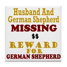 Husband & German Shepherd Missing Tile Coaster