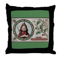 1909 Girl in Red Hood Throw Pillow