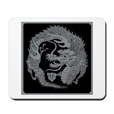 Silver Japanese Dragon Crest Mousepad