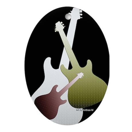 Three Guitars Oval Ornament
