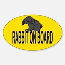 Rabbit on board Oval Bumper Stickers
