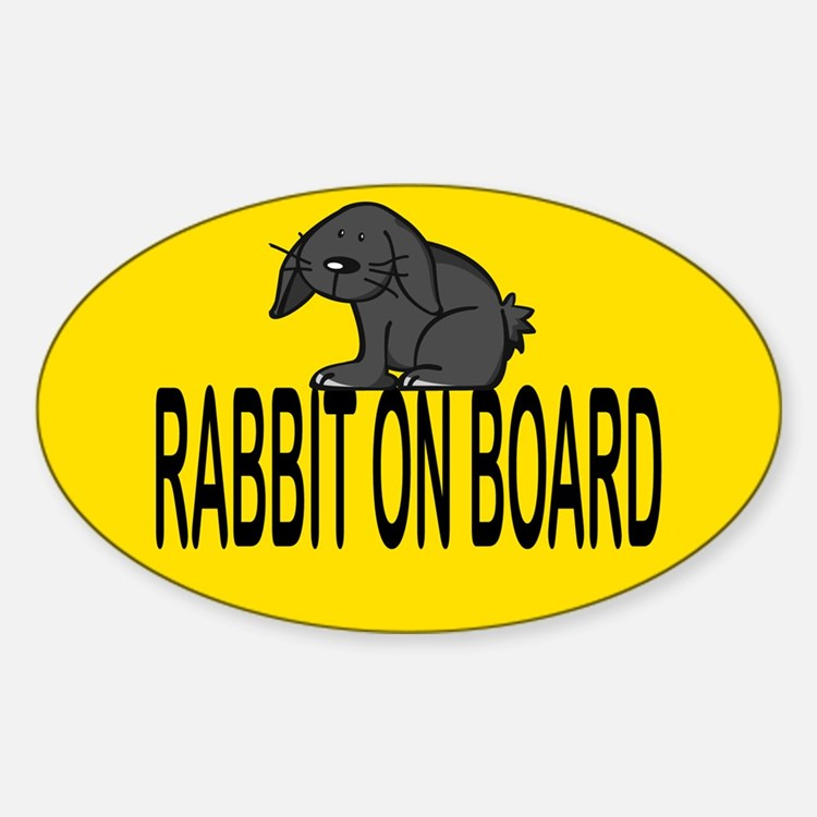 Rabbit on board Oval Decal