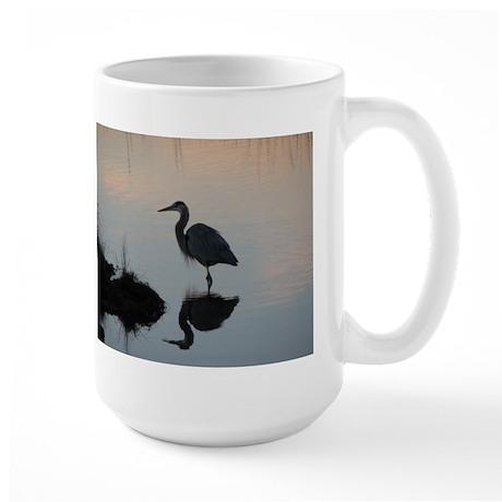 Blue Heron Sunset Large Mug