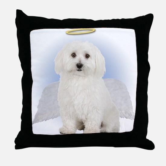 Angel Bichon Frise Throw Pillow