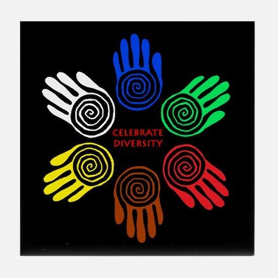 Celebrate Diversity Circle Tile Coaster