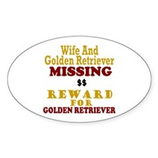Wife & Golden Retriever Missing Oval Decal
