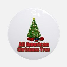 All american green christmas tree with beer orname