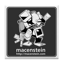 Macenstein - b&w logo Tile Coaster
