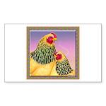 Buff Brahma Chickens Rectangle Sticker