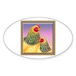 Buff Brahma Chickens Oval Sticker (10 pk)