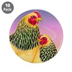 "Buff Brahma Chickens 3.5"" Button (10 pack)"