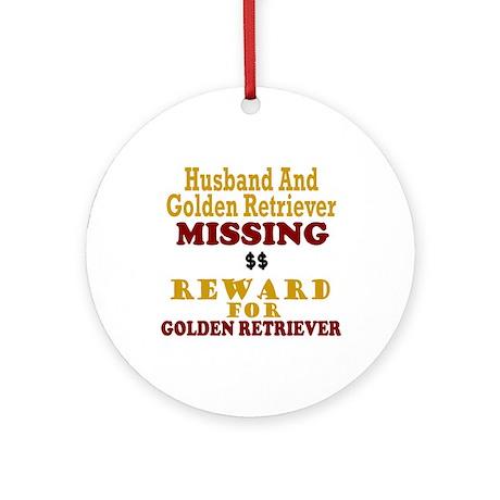 Husband & Golden Retriever Missing Ornament (Round